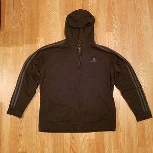 Adidas Classic Stripe Front Zip Hoodie Black XL